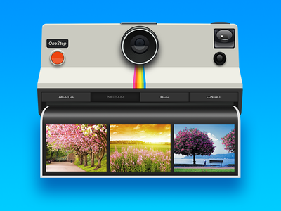 Photography Website Concept camera blue picture instant photo polaroid