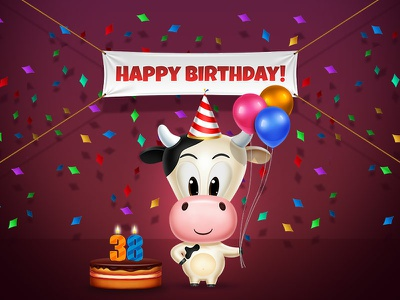 Birthday Cow babycow confetti anniversary cake balloons cow happy birthday