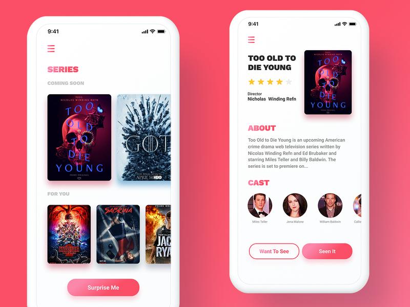 Show Finding App sketch figma cover art shows series movies minimal design ui app