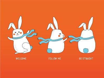 Bringly mascots follow the rabbit follow figure rabbit bunny character hero mascot