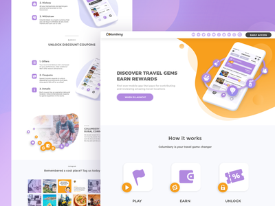 App landing page travel app discovery columbery storytelling app blocks clean page simple landing landing page
