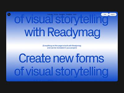 Editorial landing page editorial landing page web animation readymag
