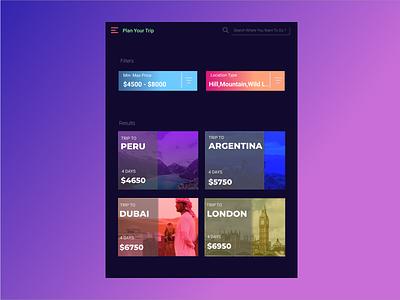 Trip Planner web app ui design