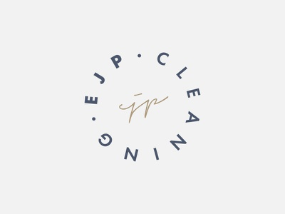 EJP Cleaning marque futura icon clean typography minimal signature graphic design stamp identity logo branding