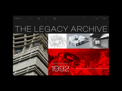 THE LEGACY ARCHIVE experiences visual exploration years layouts grid layout grid design typography experimental typography photos archive visionary vision webdesign print brutalism experimental experiment web