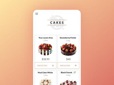 Cake Shop Concept / App gluten cakes ecommerce shop app mobile ios