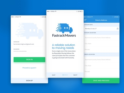 Fastrack Mobile App Design Project moving needs moving needs