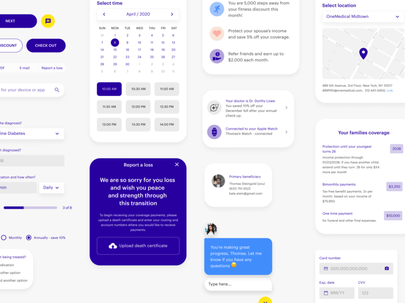 Insurance App UI system light rounded ios iphone input payment card chat princing list map calendar mobile app purple design system components