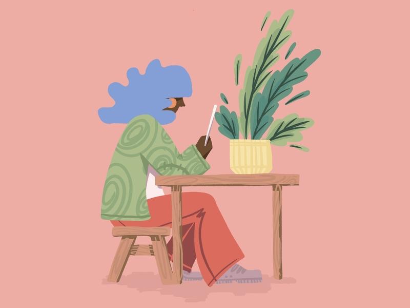 Reader ipad reading plants fashion matter power boy girl gender playful happiness joy black