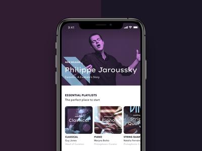 Classical music streaming app branding classical music classical branding design brand identity brand streaming app music app app design blue startup ui graphic illustration branding