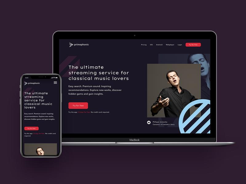 Classical music streaming app branding art classical music dark ui landing page branding design brand identity app startup ui minimal blue design branding