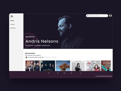 Classical music streaming app branding classical music design web app web design streaming app brand identity music app dark ui minimal ui branding