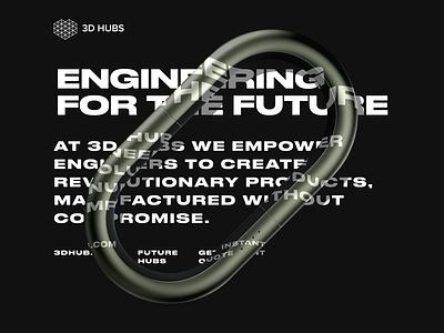 3D print poster engineering future 3d hubs dark black minimal graphic design font druk typography editorial 3d poster