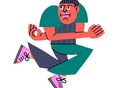 Jumpin' abstract mid century modern character design editorial illustration spot illustration vector hand drawn illustration