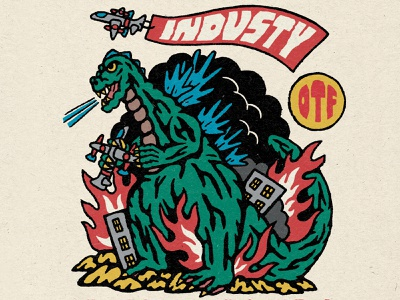 INDUSTY King of the Fonts graphic design custom typography typeface custom typeface font family custom font font funny monster godzilla vintage branding brand and identity logo hand lettering typography vector design hand drawn illustration