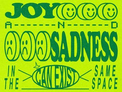 Joy and Sadness sad happy joy smile smiley face texture vintage branding icon brand and identity logo hand lettering typography vector design illustration