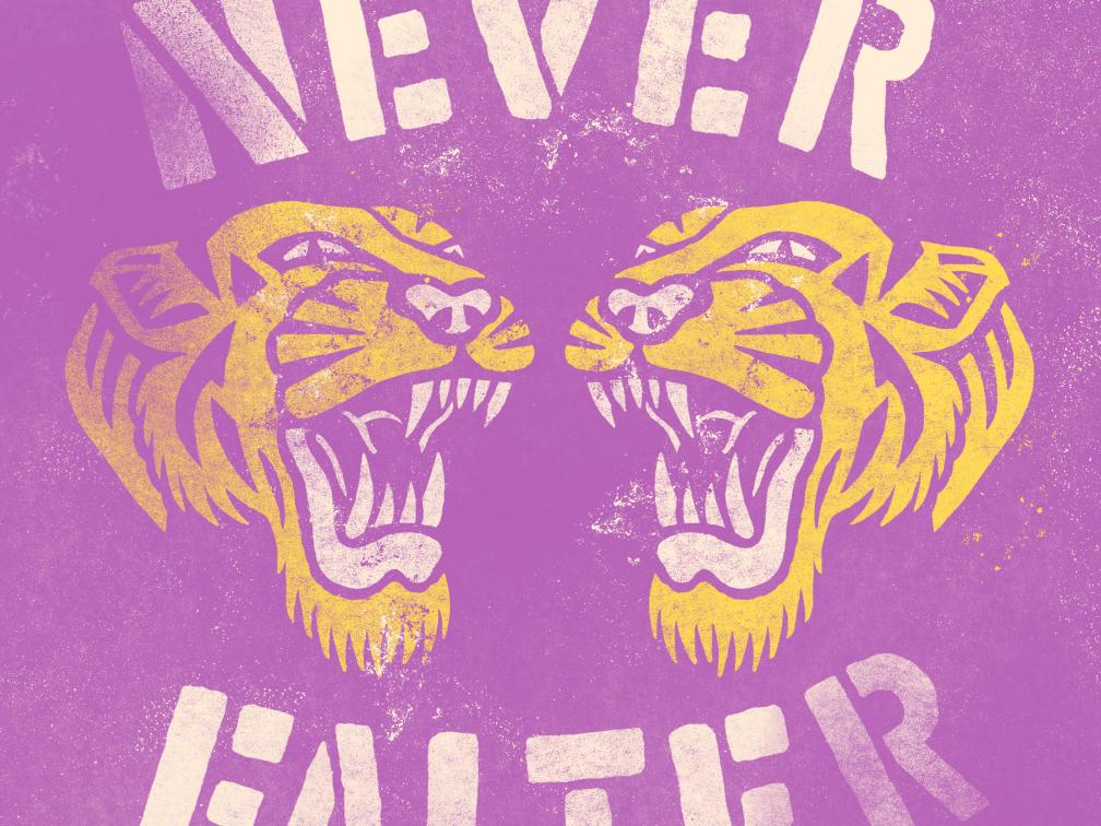 Never Falter folkart tiger vintage icon branding design logo vector hand lettering brand and identity typography illustration hand drawn