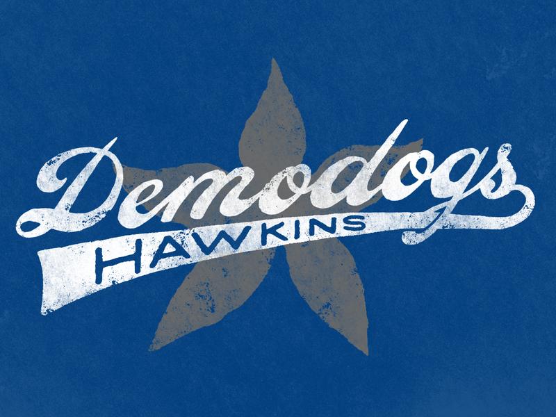 Hawkins Demodogs sci-fi horror netflix stranger things vintage icon branding design vector logo hand lettering brand and identity typography illustration hand drawn