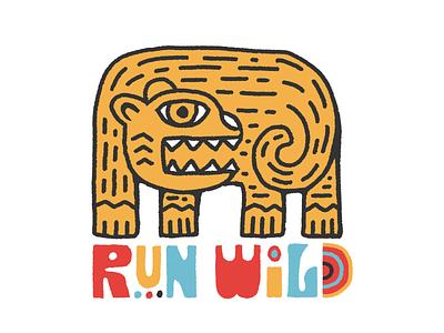 Run Wild kids book kids art folkart vintage icon branding logo hand lettering typography design vector illustration hand drawn