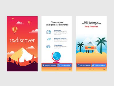 Undiscover illustration design screens welcome uiux travel app