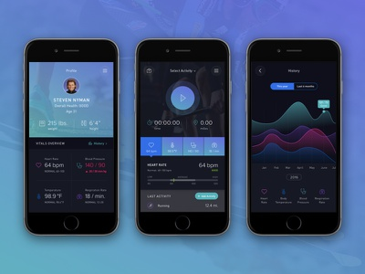 Health Fitness App tracker graphs data mobile interface vitals health fitness design ui app