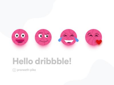 Hello Dribbble! My debut Shot, Dribbble emojis