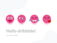 Hello Dribbble! My debut Shot, Dribbble emojis