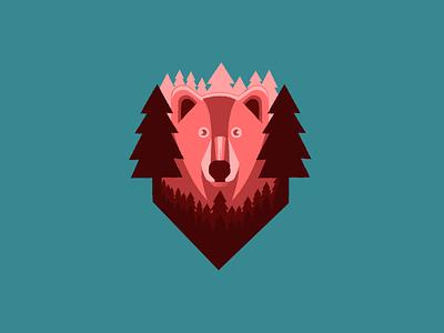 Look gaze forest tree bear animal illustration vector design