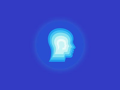 Mind over matter inner self thought minimal head mind branding identity illustration mark vector logo