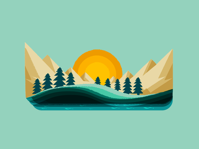 Camping Trip relax calm mindfulness mindful go outside green mountains land river trees great out doors outdoors nature design vector illustration illu outside