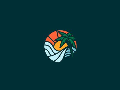 Fun under the sun vacation sun wave logo vector wave palm tree