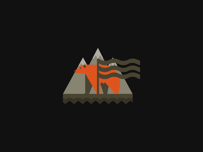B 2 mountain flag vector logo bear logo bear