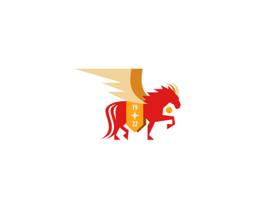 1922 illustrator vector logo sun animal banner pegasus wings horns horse