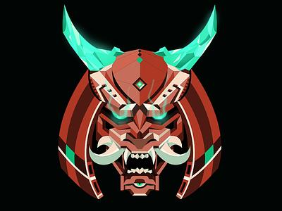 Samurai Bot cyborg cyberpunk bot fangs horns head helmet samurai illustration vector