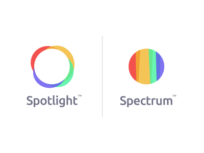 Spotlight and Spectrum identities icon logo badge branding minimal flat vector design