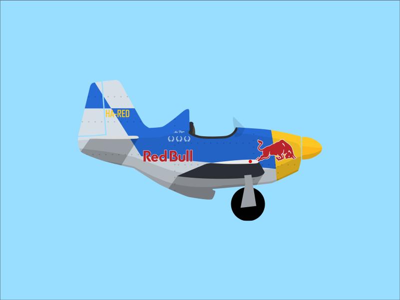Mustang redbull branding planes airplane aircraft minimal vector flat design illustration