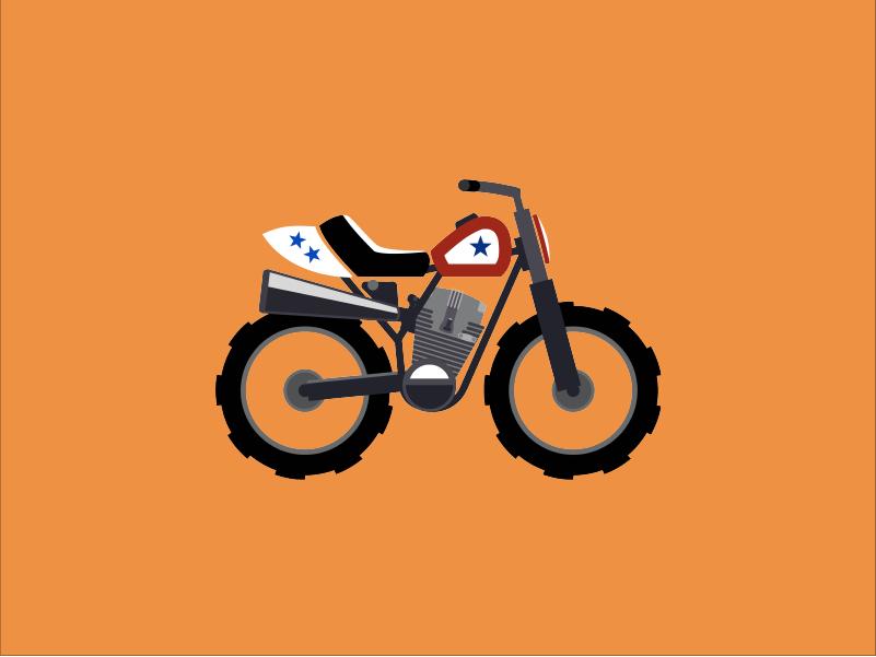 Evel Knievel motorbike bike motorcycle minimal vector flat design illustration