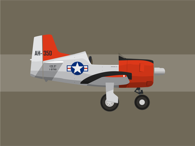 T-28 Trojan airplane aircraft illustration minimal flat vector design