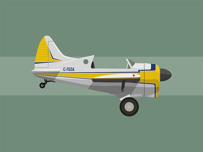 de Havilland Beaver airplane aircraft illustration minimal flat vector design