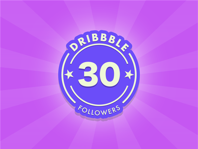 What an awesome achievement! 30 followers woohoo!! vector design badge funny illustration branding flat followers