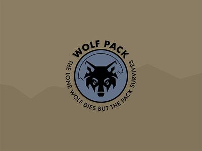 Wolf Pack team badge typography logo badge branding illustration minimal flat vector design