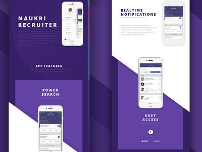 Naukri Recruiter App job hiring recruitment on the go ux ui mobile app ios infoedge naukri recruiter