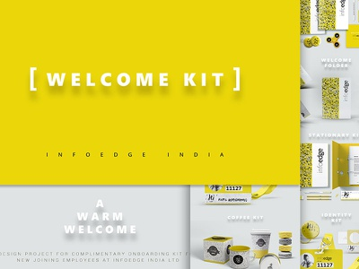 Welcome kit Identity for INFOEDGE India Ltd culture office yellow character design graphic design on boarding illustration welcome kit infoedge branding