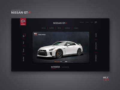 Nissan GT-R _ Concept Page design animation invision studio black and red nissanmotors nissanindia sportscar gtr prototype interaction design visualdesign productpage concept car webpage ui nissan