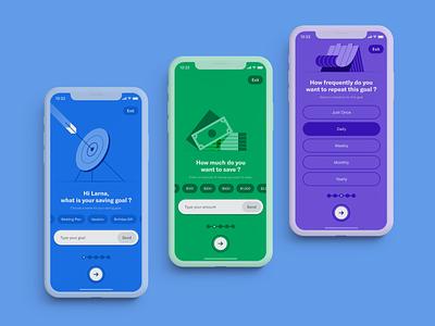 Smart Saving UI money app onboarding ui onboarding uiux illustration saving app fintech app interaction design