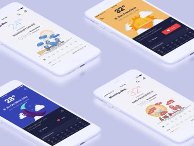 Weather App art weather uiux layout clean typography app design interaction design