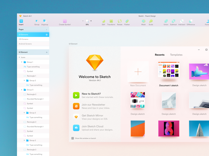 Sketch on Windows 10 fluent design mobile design sketch abstract uiux layout black and white typography web design interaction design