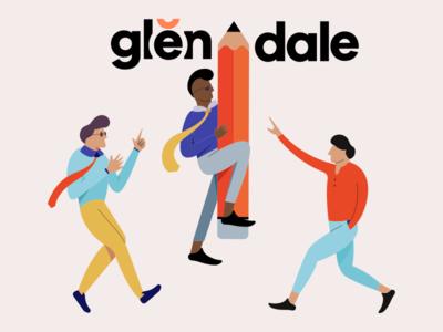 Glendale - Characters illustration message app app design color typography layout character design mobile design landing page interaction design uiux web design