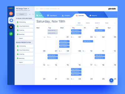 Glendale - Calendar ux ui web app color typography layout responsive mobile design landing page uiux web design