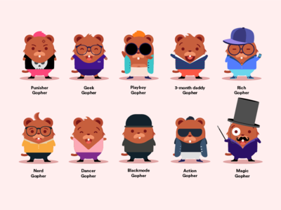 Army of Gophers editorial uiux ui web design art mascot emoji character character design draw color illustration